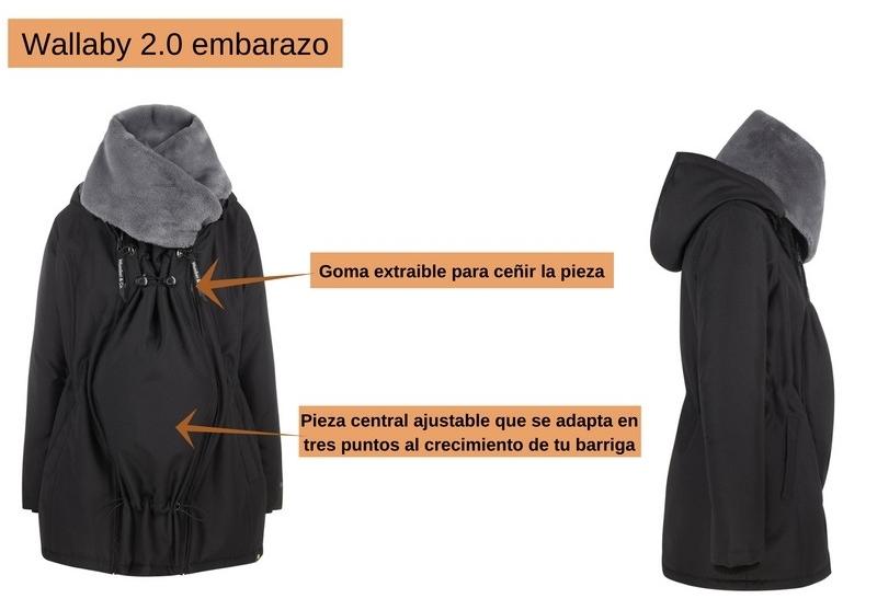 db3386ca7 WOMBAT Wallaby 2.0 abrigo de porteo y embarazo negro y gris